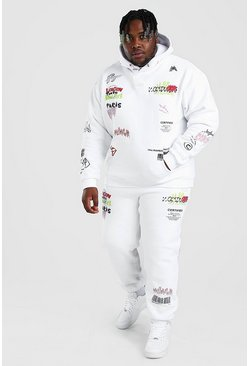White Plus Size MAN Graphic Print Tracksuit