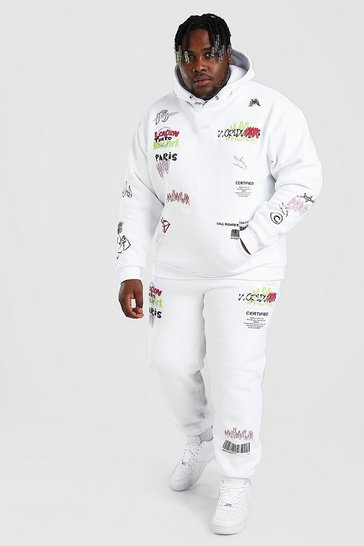 White Big And Tall MAN Graphic Print Tracksuit