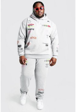 Grey Plus Size MAN Graphic Print Tracksuit