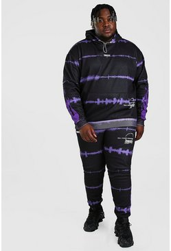 Purple Plus Size Tie Dye Flame Print Tracksuit