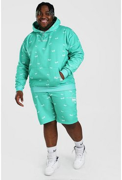 Green Plus Size MAN Butterfly Short Tracksuit