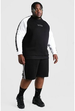 Zwart black Plus Size MAN Colourblock Trainingspak