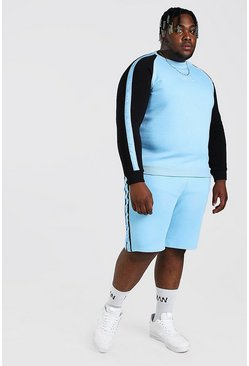 Light blue blue Plus Size MAN Colour Block Tracksuit