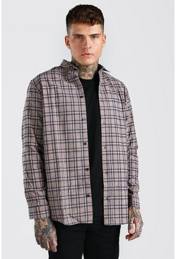 Beige Long Sleeve Longline Check Shirt