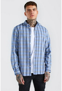 Mid blue Long Sleeve Regular Fit Check Shirt