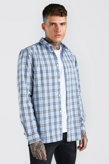 Light blue blue Long Sleeve Oversize Check Shirt