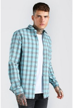 Mint green Long Sleeve Regular Fit Check Shirt