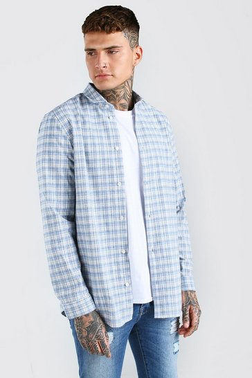 Pale blue blue Long Sleeve Longline Check Shirt