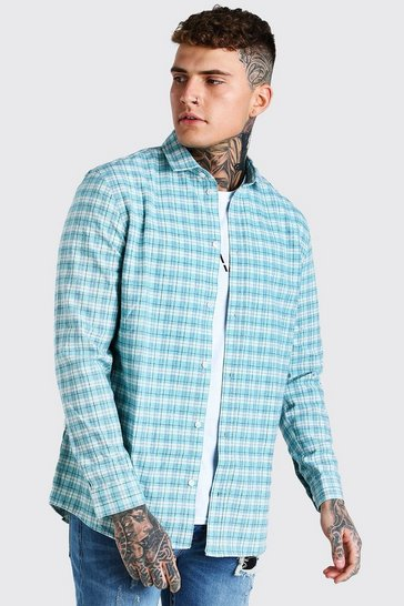 Mint green Long Sleeve Longline Check Shirt