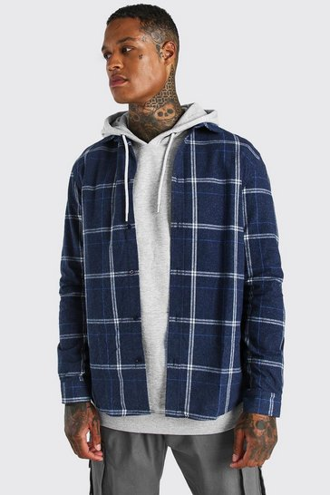 Navy Long Sleeve Regular Fit Check Shirt