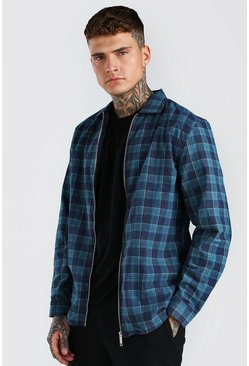 Green Long Sleeve Regular Fit Check Shirt With Zip