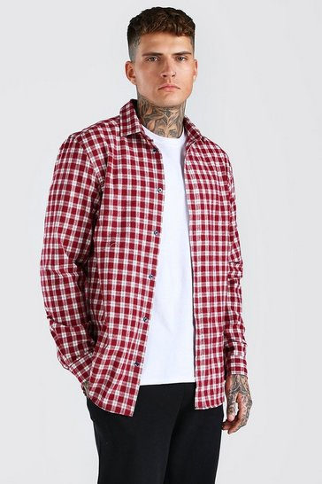 Red Long Sleeve Regular Fit Check Shirt