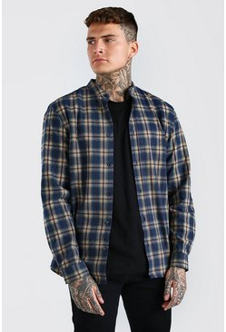 Navy Long Sleeve Grandad Collar Check Shirt