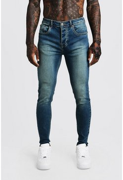 Antique wash blue Skinny Fit Denim Jeans