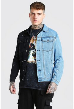 Black Regular Fit Contrast Paint Splatter Denim Jacket