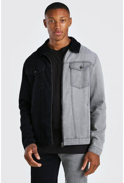 Black Regular Fit Zip Through Cord Collar Denim Jacket