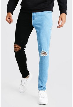 Black Skinny Stretch Contrast Jeans With Ripped Knees