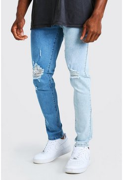 Skinny Stretch Contrast Jeans With Ripped Knees, Blue blau
