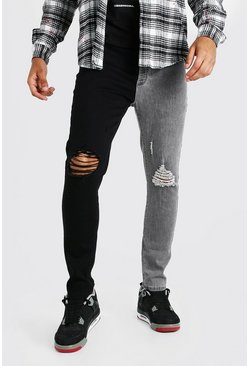 Grey Skinny Stretch Contrast Jeans With Ripped Knees