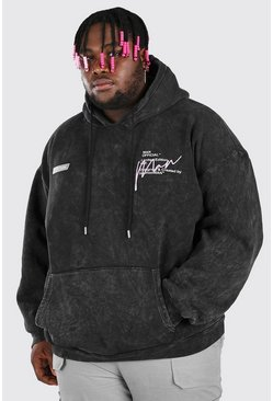 Black Plus Size Acid Wash MAN Print Hoodie