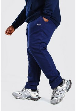 Marineblauw navy Plus Size Man Dash Slim Fit Joggingbroek