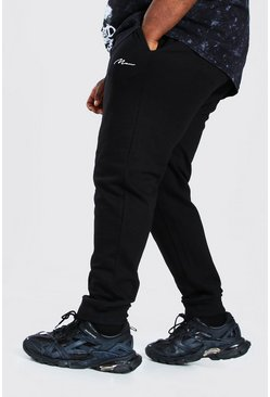 Zwart black Plus Size Man Slim Fit Joggingbroek Met Tekst