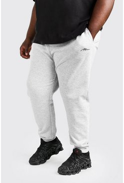 Grijs gemêleerd grey Plus Size Man Slim Fit Joggingbroek Met Tekst