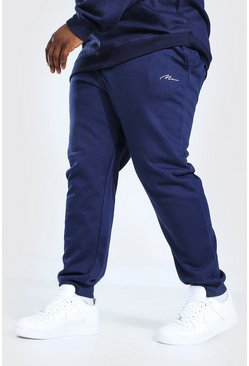 Marineblauw navy Plus Size Man Slim Fit Joggingbroek Met Tekst