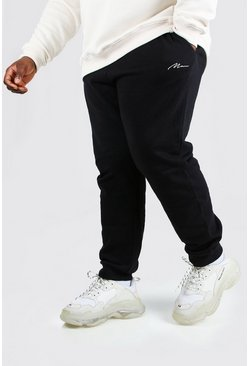 Black Plus Size Man Slim Fit Joggingbroek Met Tekst
