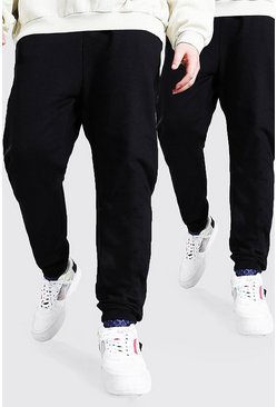 Black Plus Size Basic Skinny Fit Joggingbroeken (2 Stuks)