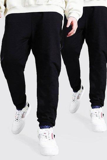 Black Plus Size 2 Pack Basic Skinny Fit Jogger