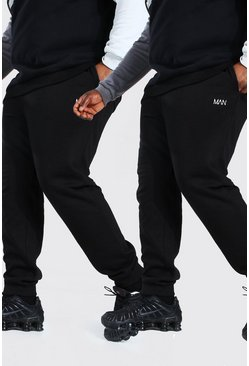 Black Plus Size 2 Pack MAN Dash Skinny Fit Jogger