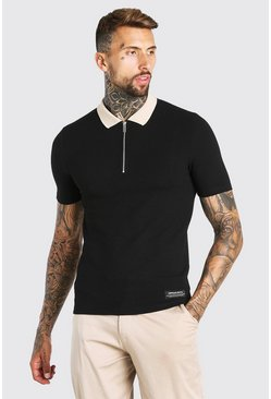 Black Muscle Fit Half Zip Contrast Collar Knitted Polo