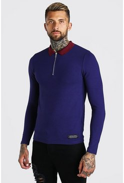 Navy Long Sleeved Muscle Fit Half Zip Knitted Polo