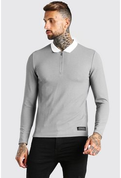 Grey Long Sleeved Muscle Fit Half Zip Knitted Polo