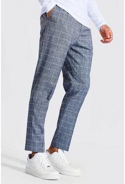 Grey Tapered Fit Windowpane Check Trouser