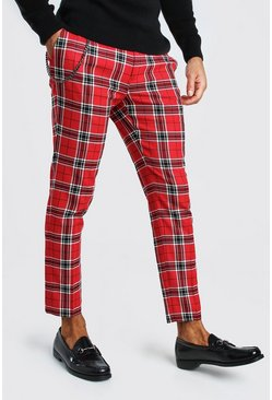 Red Large Scale Tartan Cropped Smart Pants