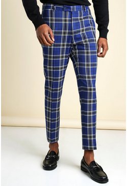 Blue Large Scale Tartan Cropped Smart Trouser