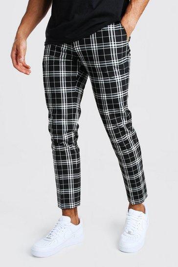 Black Mono Tartan Cropped Smart Trouser