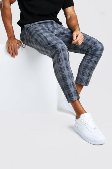 Grey Large Check With Chain Detail Smart Trouser