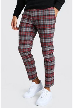 Red Tartan Skinny Fit Cropped Trouser