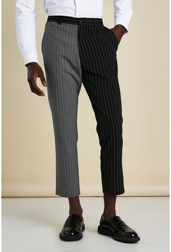 Black Skinny Pinstripe Cropped Spliced Smart Trouser