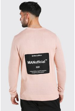 Pale pink MAN Official Back Print Crew Neck Jumper