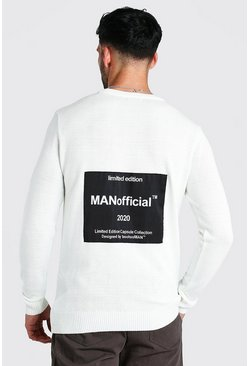 Cream white MAN Official Back Print Crew Neck Jumper