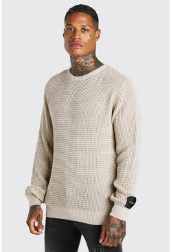 Stone beige Waffle Stitch Crew Neck Jumper With MAN Woven Tab