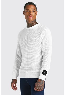 White Waffle Stitch Crew Neck Jumper With MAN Woven Tab
