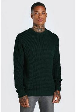 Green Waffle Stitch Crew Neck Sweater With Man Woven Tab