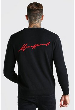 Black MAN Signature Crew Neck Jumper