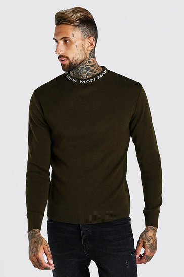 Green Muscle Fit MAN Dash Turtle Neck Jumper