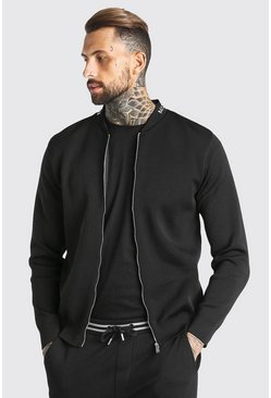 Black MAN Dash Smart Knitted Bomber